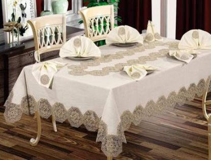 Picture of Dining Room tablecloth set 26 pieces cream